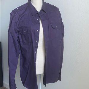 Men's Calvin Klein polo office shirt large purple